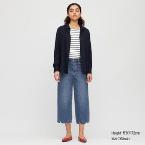 Uniqlo high rise wide cropped jeans